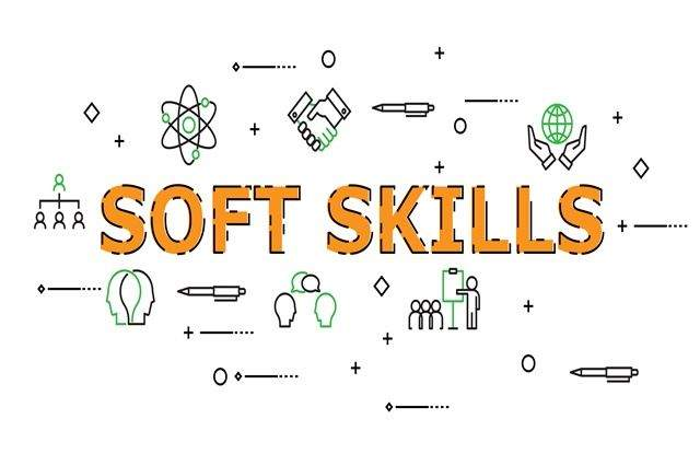 Soft Skills Word with Icon Set in Concept of Human Resource Management and Training. Flat Thin line designed vector illustration on white Background. Editable Stroke.